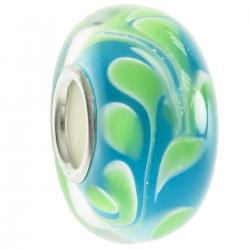 Sterling Silver Murano GREEN Glass Bead for European Charm Bracelets 13mm