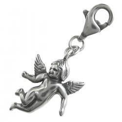 Antique 925 Sterling Silver Cute Little Angel Dangle Pendant European Lobster Clip on Charm