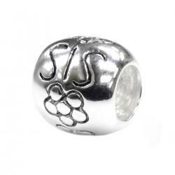1x Sterling Silver Sis Sister Flower Bead for European Charm Bracelets