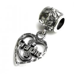 Sterling Silver Heart Love Grandma Dangle Bead for European Charm Bracelets