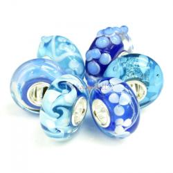 6pcs Sterling Silver Assorted Blue and White Murano Bundle Glass Bead for European Charm Bracelets