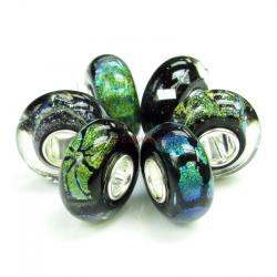 6pcs Sterling Silver Mystery Black Foiled Murano Bundle Glass Bead for European Charm Bracelets