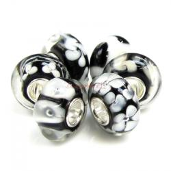 Sterling Silver Assorted Black and White Murano Glass Bundle Bead for European Charm Bracelets