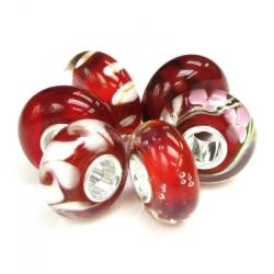 6pcs Sterling Silver Red and White Murano Glass Bundle  Bead for European Charm Bracelets