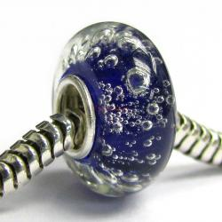 Sterling Silver Blue Bubble Murano Glass Bead for European Charm Bracelets