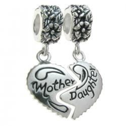 Sterling Silver Dangle Mother & Daughter Love Heart Pendant Family Bead for European Charm Bracelets