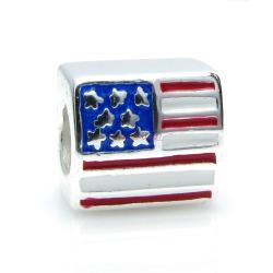 Sterling silver Red Blue White AMERICA FLAG Enamel bead for European Charm Bracelets