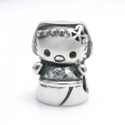 Sterling Silver Kitty Cat CZ Bead for European Charm Bracelets