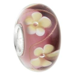 Sterling Silver Murano Flower Red Glass Bead for European Charm Bracelets 14mm