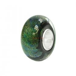 Sterling Silver Murano Green Foiled Glass Bead for European Charm Bracelets