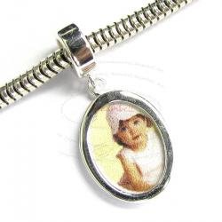 Sterling Silver Photo Frame Dangle Bead for European Charm Bracelets