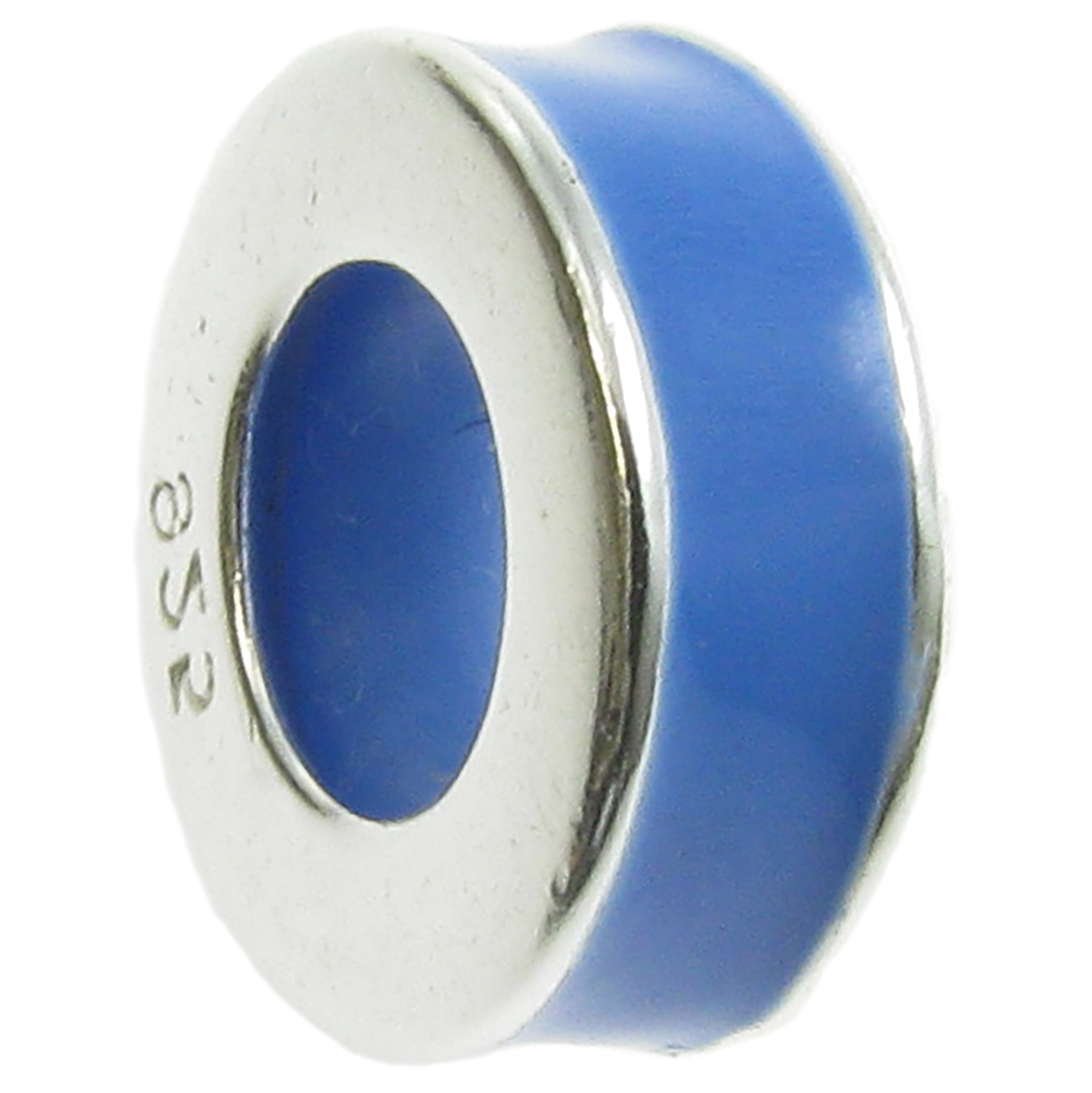 Sterling Silver Sapphire Blue Enamel Stopper with Rubber Round Bead for European Charm Bracelets