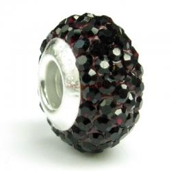 Sterling Silver Birthstone Garnet Round CZ Crystal for European Charm Bracelets January