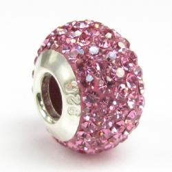 Sterling Silver Birthstone Pink Round CZ Crystal for European Charm Bracelets October