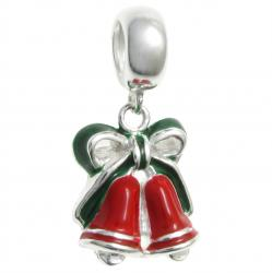 Sterling Silver Jingle Christmas Bell Enamel Dangle Bead for European Charm Bracelets
