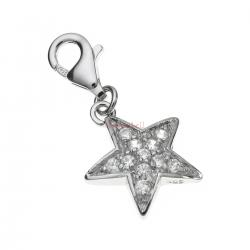 Sterling Silver Star Crystal Dangle Pendant for European Lobster Clip on Charm