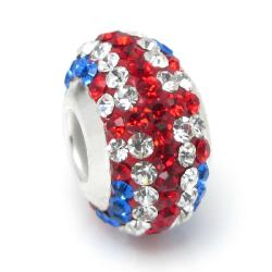 Sterling Silver Round Blue Red White Uk Flag Ferido Crystals for European Charm Bracelet Jewelry