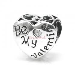 Sterling Silver Love Heart Be My Valentine Bead Fits European Charm Bracelet