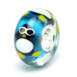 Sterling Silver Penguin Murano Glass Bead for European Charm Bracelets