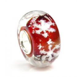 Sterling Silver Snowflake Red Glass Bead for European Charm Bracelets