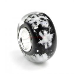 Sterling Silver Snowflake Let It Snow Black Glass Bead for European Charm Bracelets