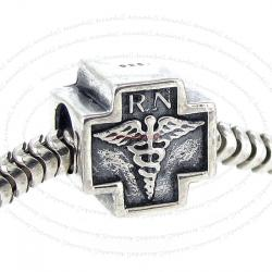 Sterling Silver Registered Nurse Cross Bead for European Charm Bracelets