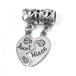Sterling Silver Aunt Niece Love Heart Dangle Pendant Bead for European Charm Bracelets