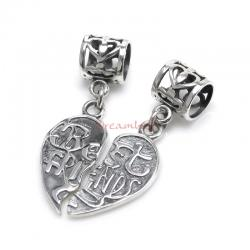Sterling Silver Best Friend Love Heart Pendant Dangle Bead for European Charm Bracelets