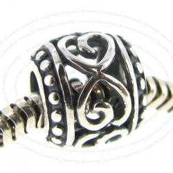 Sterling Silver Infinity Love Filigree Heart Flower Bead for European Charm Bracelets