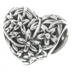 925 Sterling Silver Tree of Love Flower Heart European Bead Charm