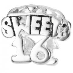 Sterling Silver Sweet 16 Sixteen Birthday Bead for European Charm Bracelets