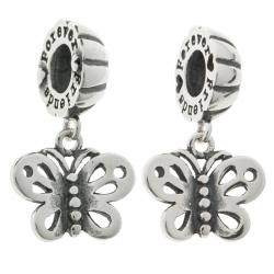 Sterling Silver Best Friend Forever Love Butterfly Pendant Dangle Bead for European Charm Bracelets