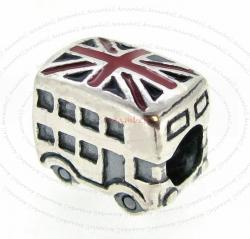 Sterling Silver London Bus Uk Britain Flag Enamel Bead for European Charm Bracelets