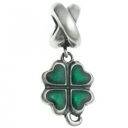 Sterling Silver Four Leaf Clover Heart Enamel Lucky Bead for European Charm Bracelets