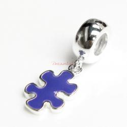 Sterling Silver Autism Jigsaw Puzzle Purple Enamel Dangle Awareness Bead for European Charm Bracelets