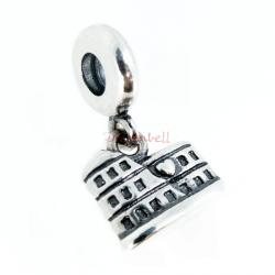 Antique 925 Sterling Silver Rome Colosseum Coliseum Dangle Bead for European Charm Bracelets