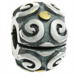 Gold Plated Over 925 Sterling Silver Round Ethnic Flower Clip Stopper Lock Bead for European Charm Bracelets
