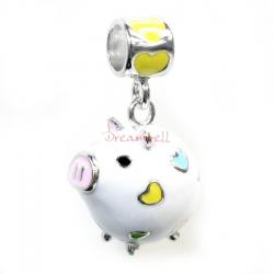 Rhodium on 925 Sterling Silver Lovely Pig Enamel Bead for European Charm Bracelets
