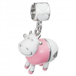 Rhodium on 925 Sterling Silver Lovely Cow Enamel Bead for European Charm Bracelets