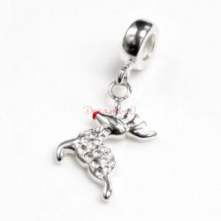 925 Sterling Silver Christmas Deer Enamel Dangle Bead for European Charm Bracelets