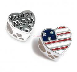 Antique 925 Sterling Silver Heart Flag Military Mom Enamel Bead for European Charm Bracelets
