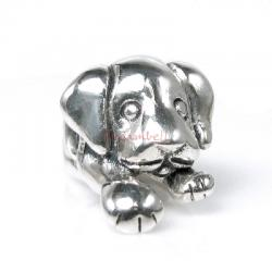 1x Antique 925 Sterling Silver Cute Lovely Puppy Dog Bead for European Charm Bracelets