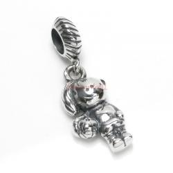 Sterling Silver Soccer Footaball Girl Dangle Bead for European Charm Bracelets