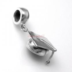 Antique 925 Sterling Silver Graduation Cap Hat Dangle Bead for European Charm Bracelets