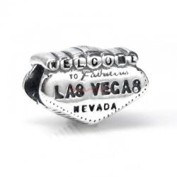 1x Antique 925 Sterling Silver Welcome to Las Vegas Bead for European Charm Bracelets