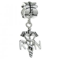 1x Antique 925 Sterling Silver Registered Nurse Logo Symbol Flower Dangle Bead for European Charm Bracelets