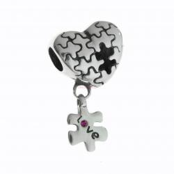1x Antique 925 Sterling Silver Love Heart Puzzles Dangle Pink Crystal Bead for European Charm Bracelets