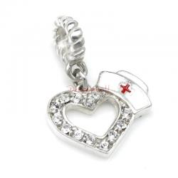 1x Antique 925 Sterling Silver Heart CZ Crystal Nurses Cap Enamel Dangle Bead for European Charm Bracelets