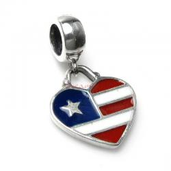 1x Antique 925 Sterling Silver Heart Flag Enamel Dangle Bead for European Charm Bracelets