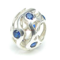 1x 925 Sterling Silver Blue CZ Waves Bead for European Charm Bracelets